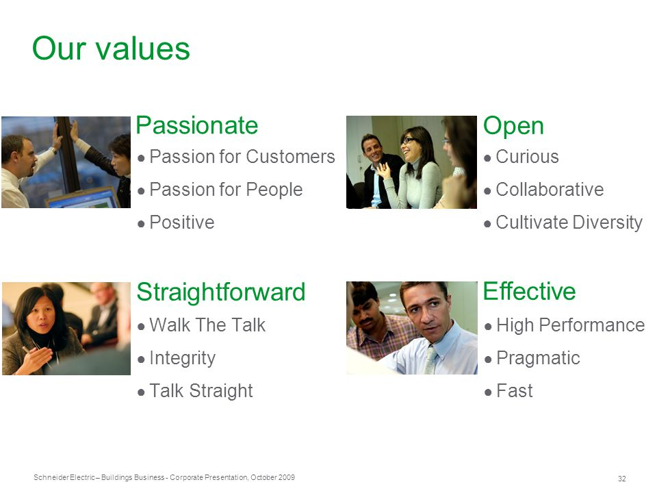 Our values Passionate Open Straightforward Effective