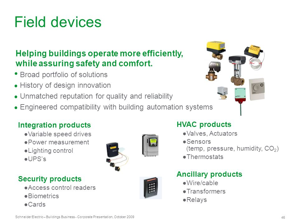 Field devices Helping buildings operate more efficiently,