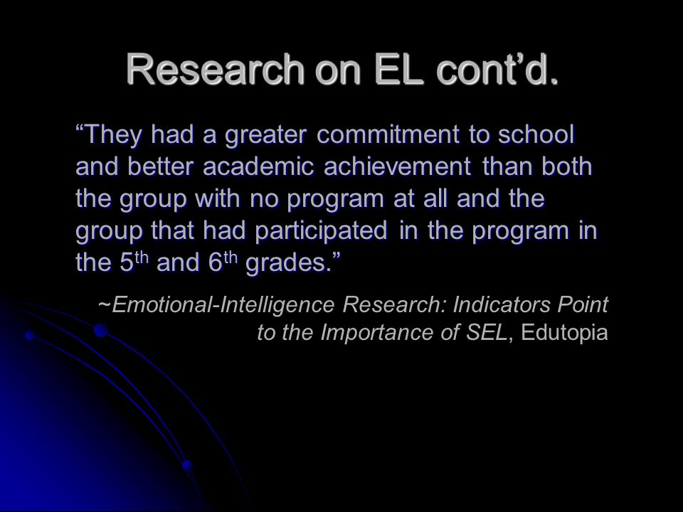Research on EL cont'd.