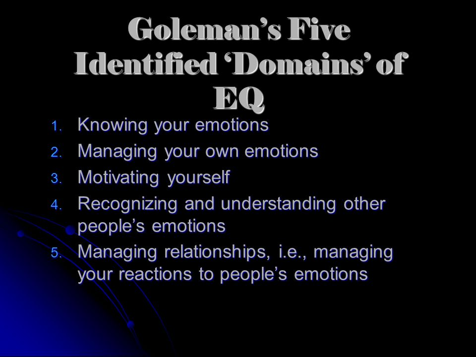Goleman's Five Identified 'Domains' of EQ