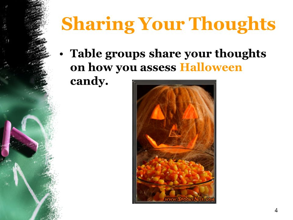 Sharing Your Thoughts Table groups share your thoughts on how you assess Halloween candy.