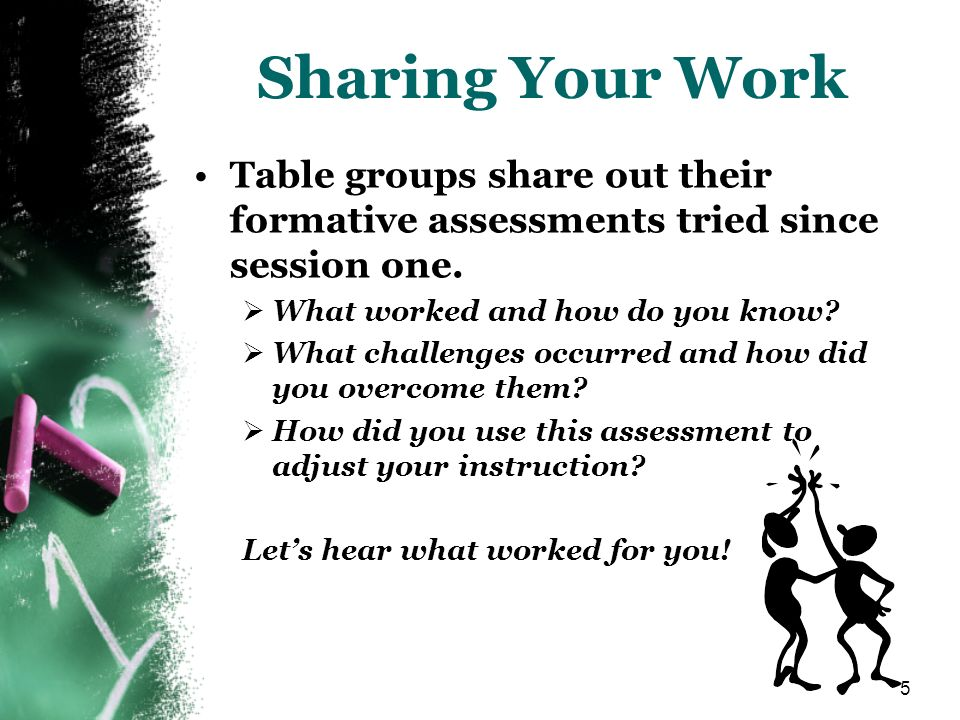 Sharing Your Work Table groups share out their formative assessments tried since session one. What worked and how do you know