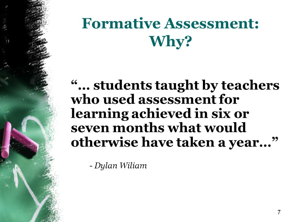 Formative Assessment: Why
