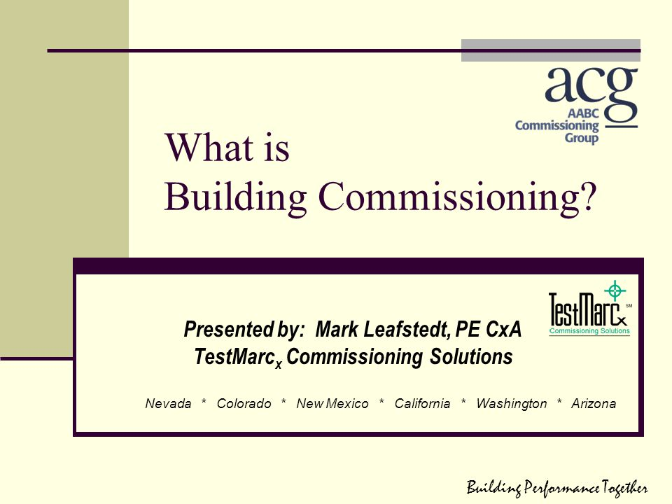 What is Building Commissioning