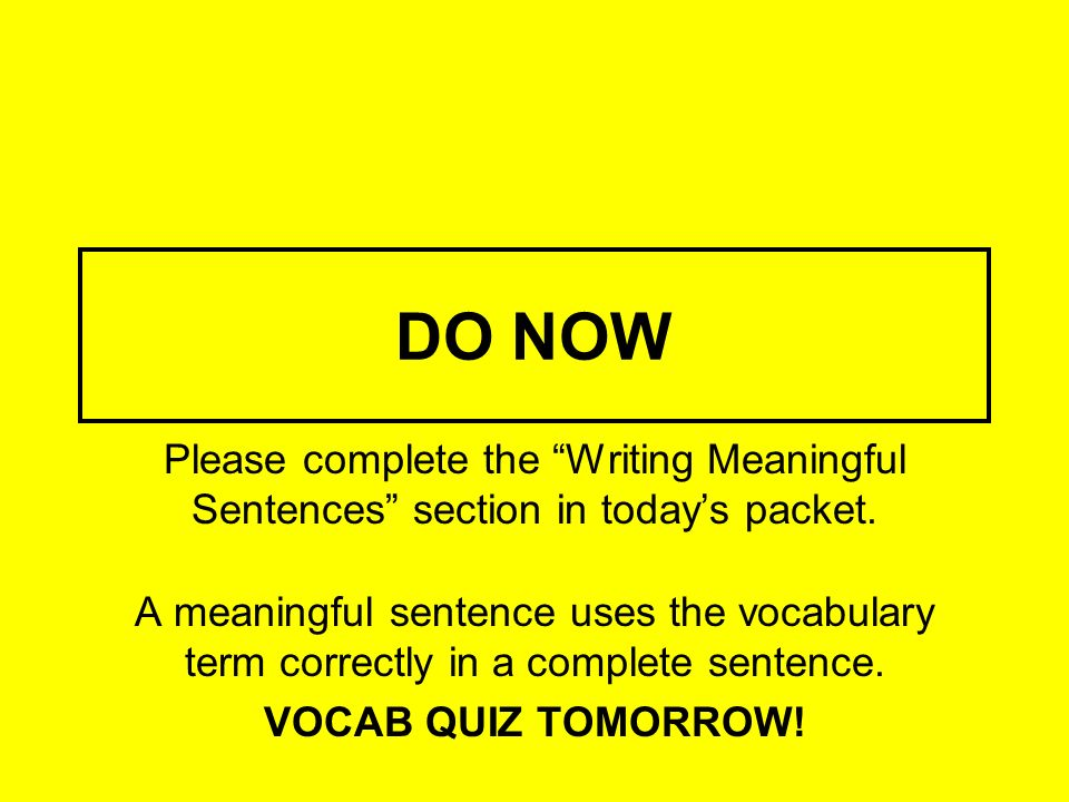 DO NOW Please complete the Writing Meaningful Sentences section in today's packet.
