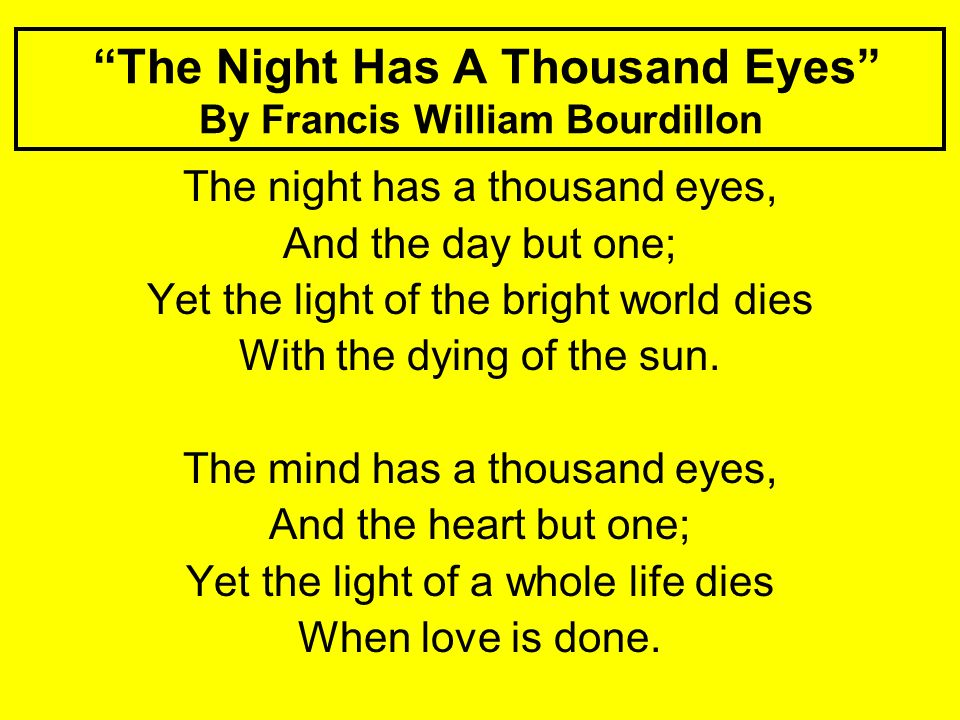 The Night Has A Thousand Eyes By Francis William Bourdillon