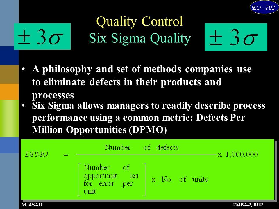 Quality Control Six Sigma Quality