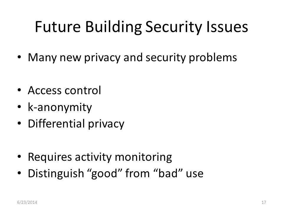 Future Building Security Issues