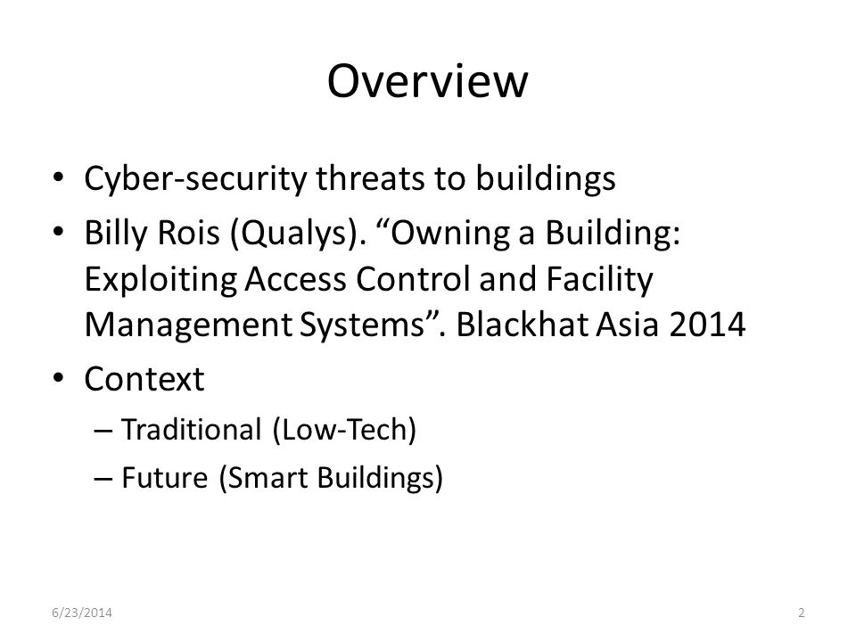Overview Cyber-security threats to buildings