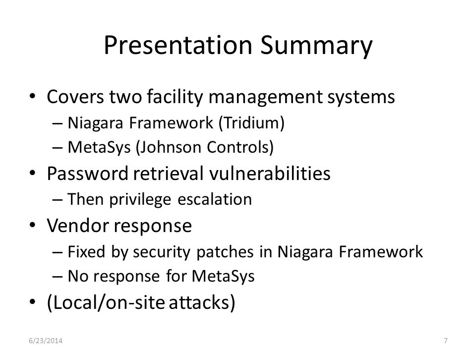 Presentation Summary Covers two facility management systems
