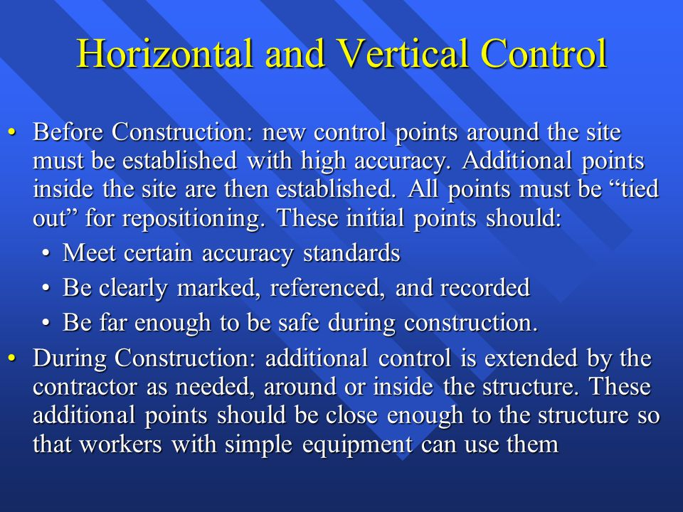 Horizontal and Vertical Control