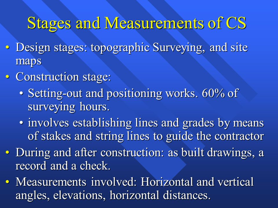 Stages and Measurements of CS