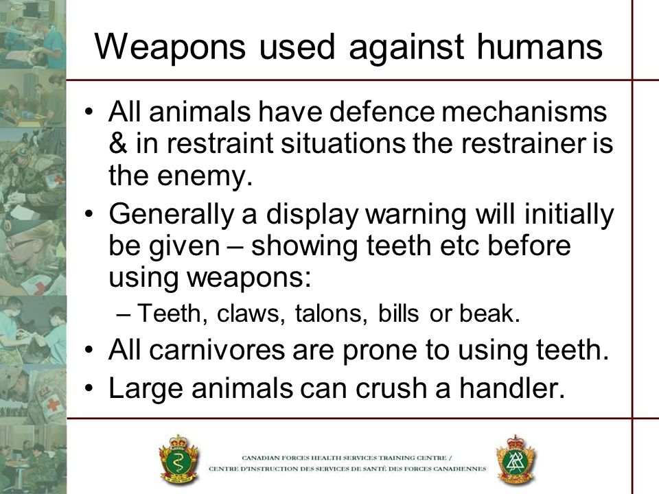 Weapons used against humans