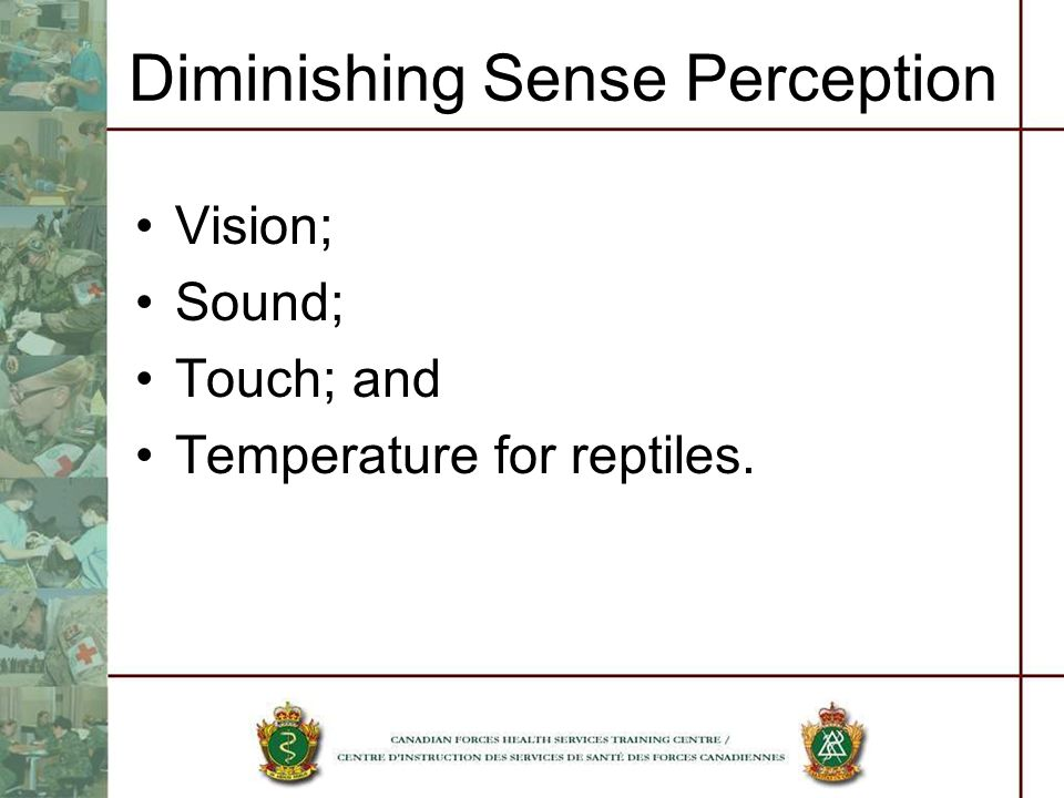 Diminishing Sense Perception