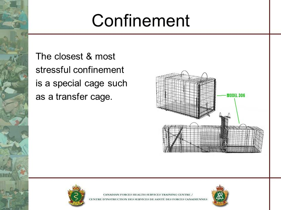 Confinement The closest & most stressful confinement