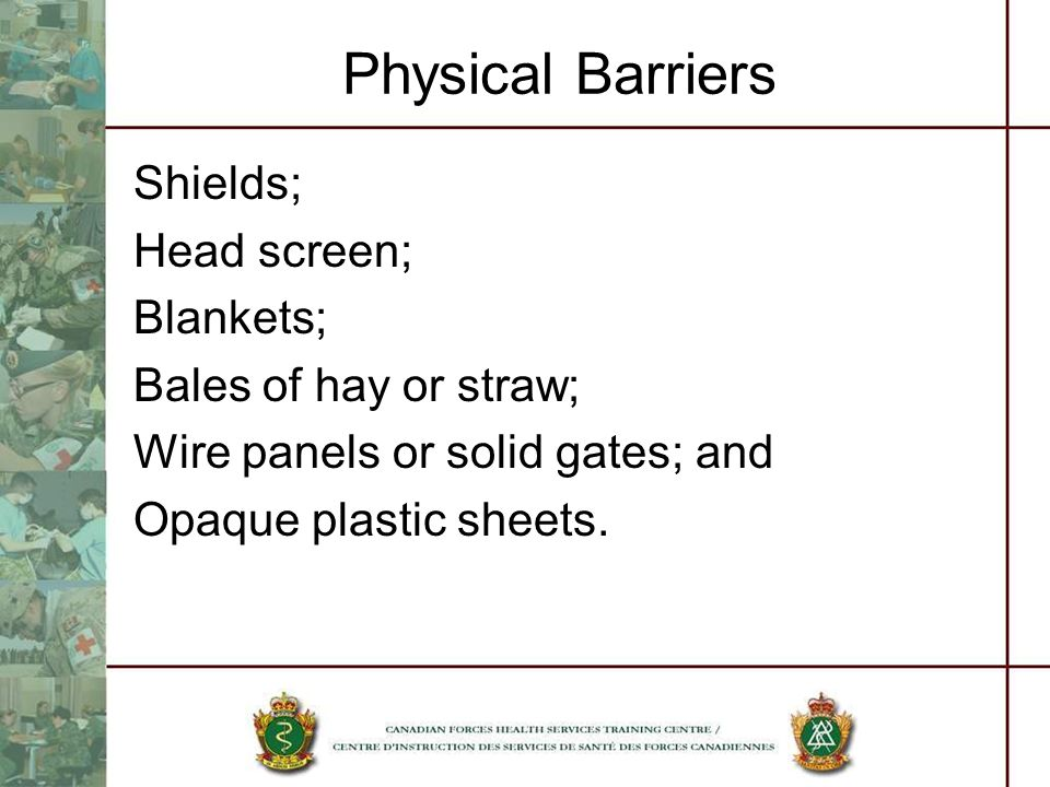 Physical Barriers Shields; Head screen; Blankets;
