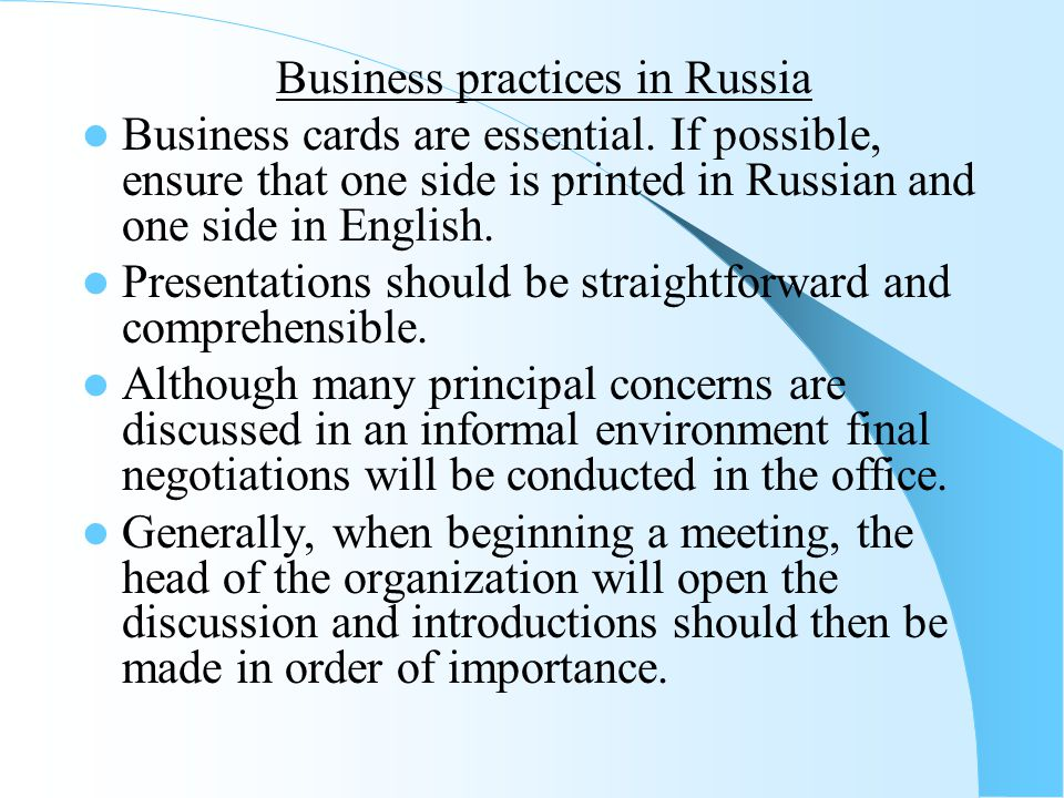 Business practices in Russia