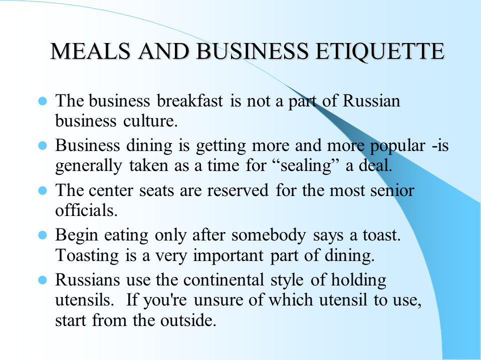 MEALS AND BUSINESS ETIQUETTE