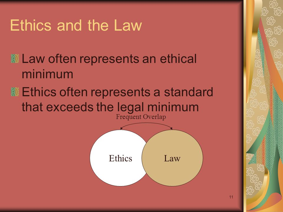 Ethics and the Law Law often represents an ethical minimum