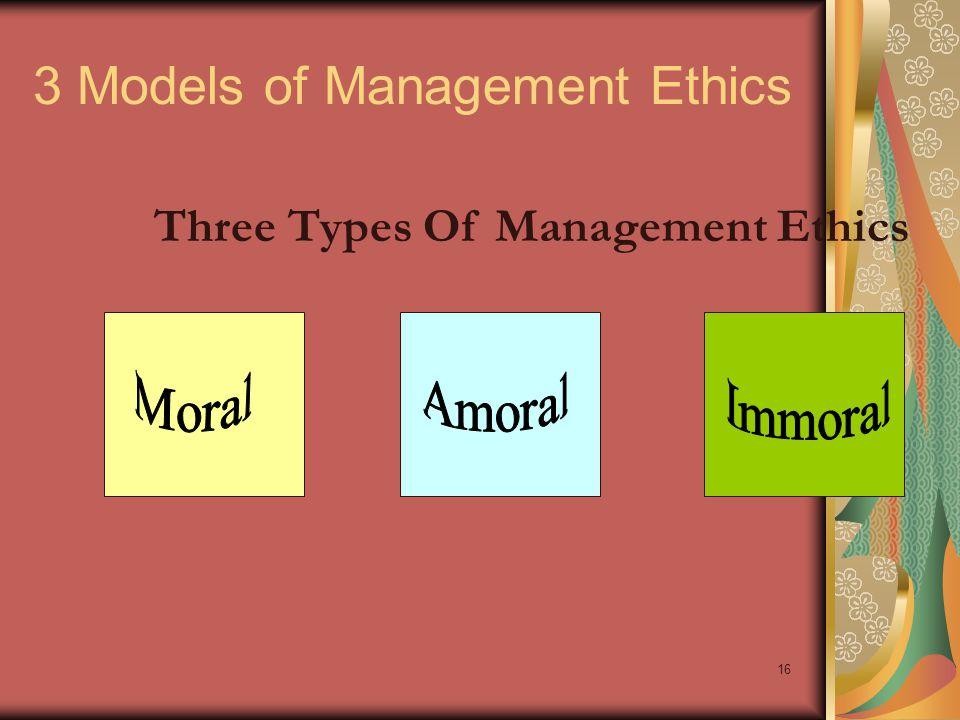 3 Models of Management Ethics