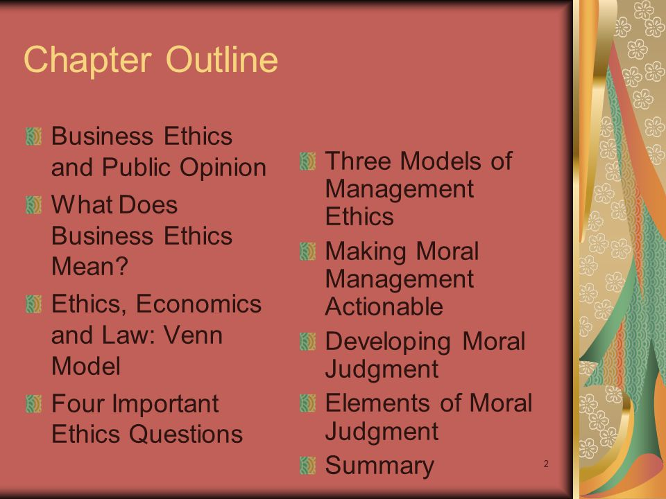 Chapter Outline Business Ethics and Public Opinion