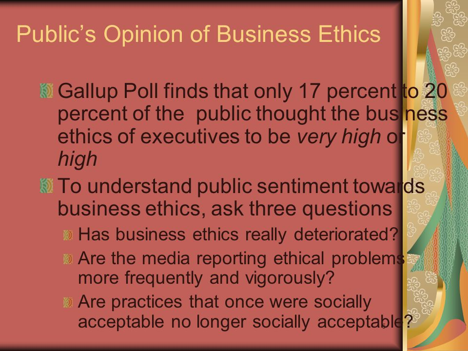 Public's Opinion of Business Ethics
