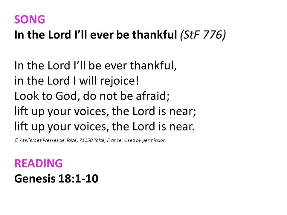 In the Lord I'll ever be thankful (StF 776)