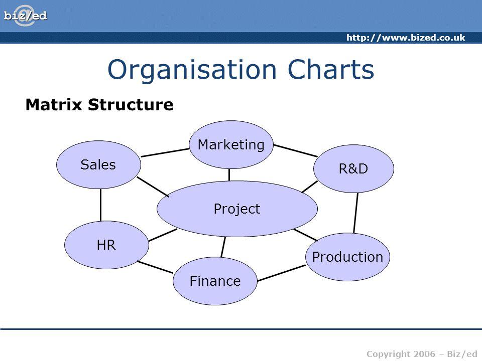 Organisation Charts Matrix Structure Marketing Sales R&D Project HR