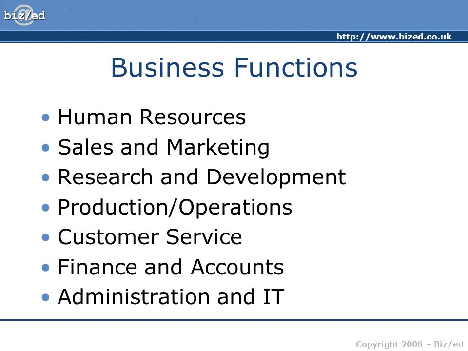 Business Functions Human Resources Sales and Marketing