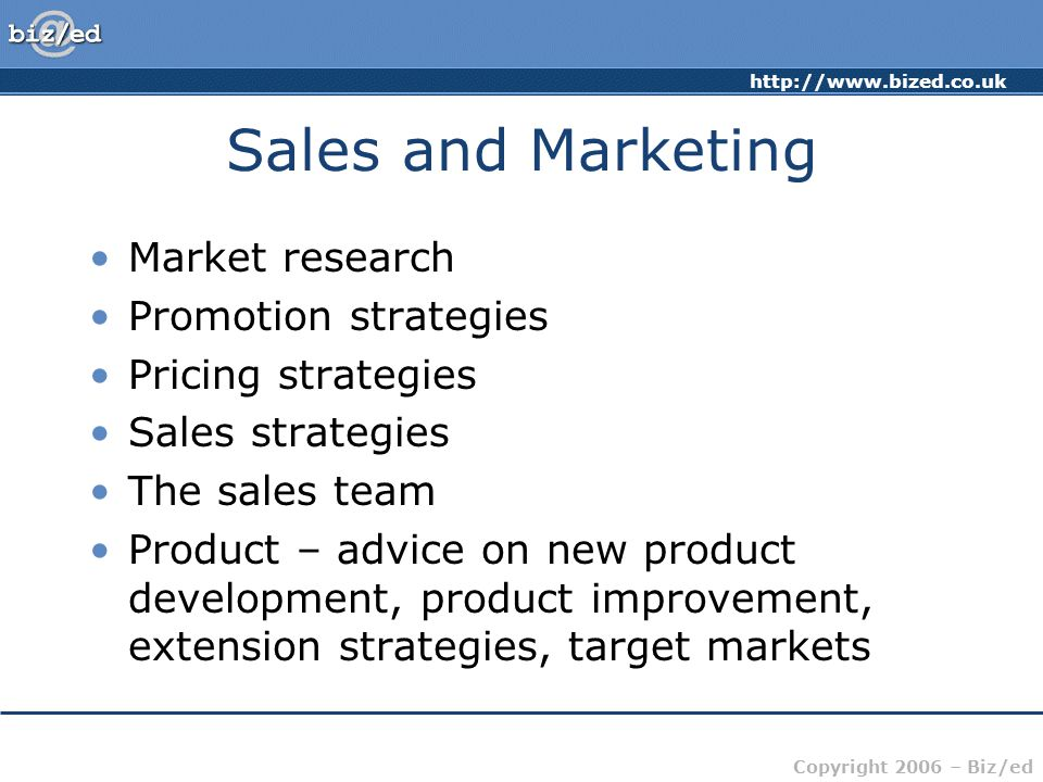 Sales and Marketing Market research Promotion strategies