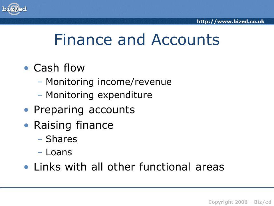 Finance and Accounts Cash flow Preparing accounts Raising finance