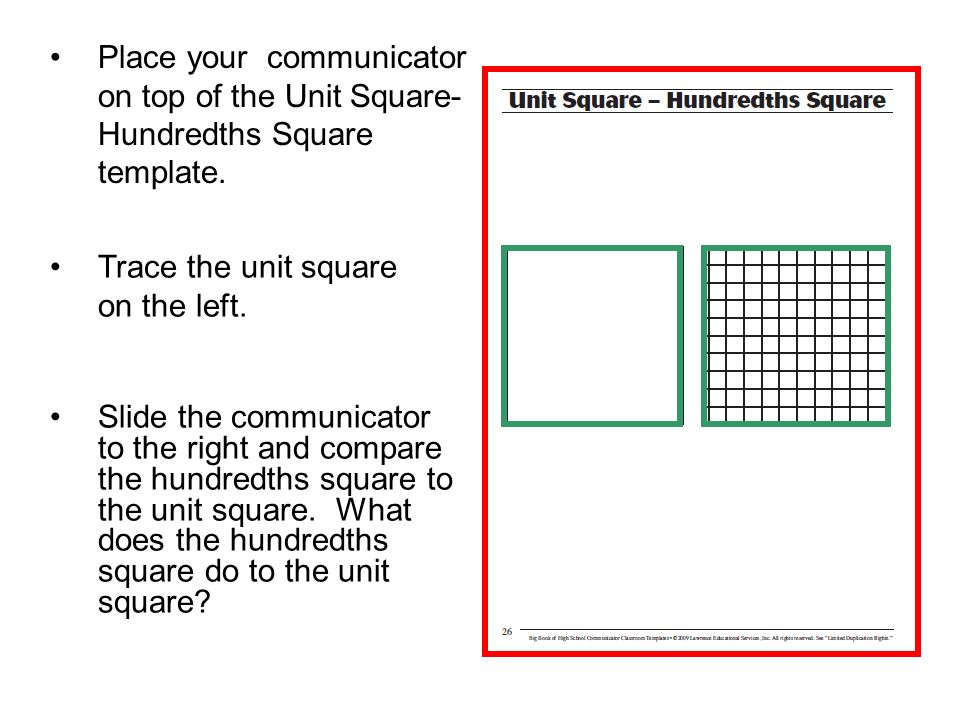Place your communicator on top of the Unit Square-Hundredths Square template.
