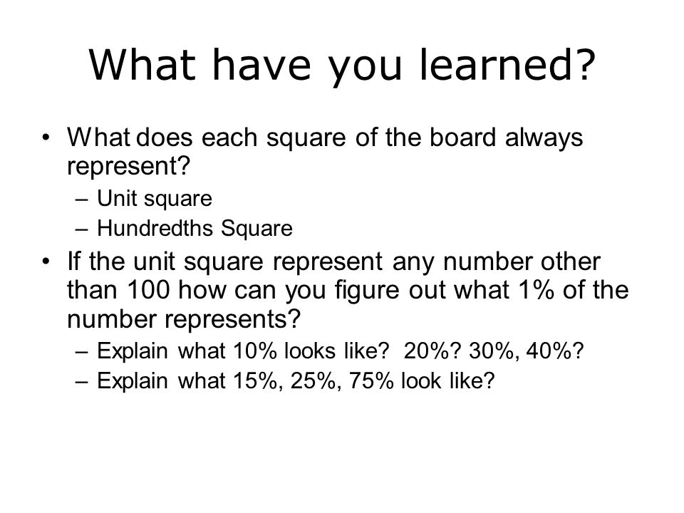 What have you learned What does each square of the board always represent Unit square. Hundredths Square.
