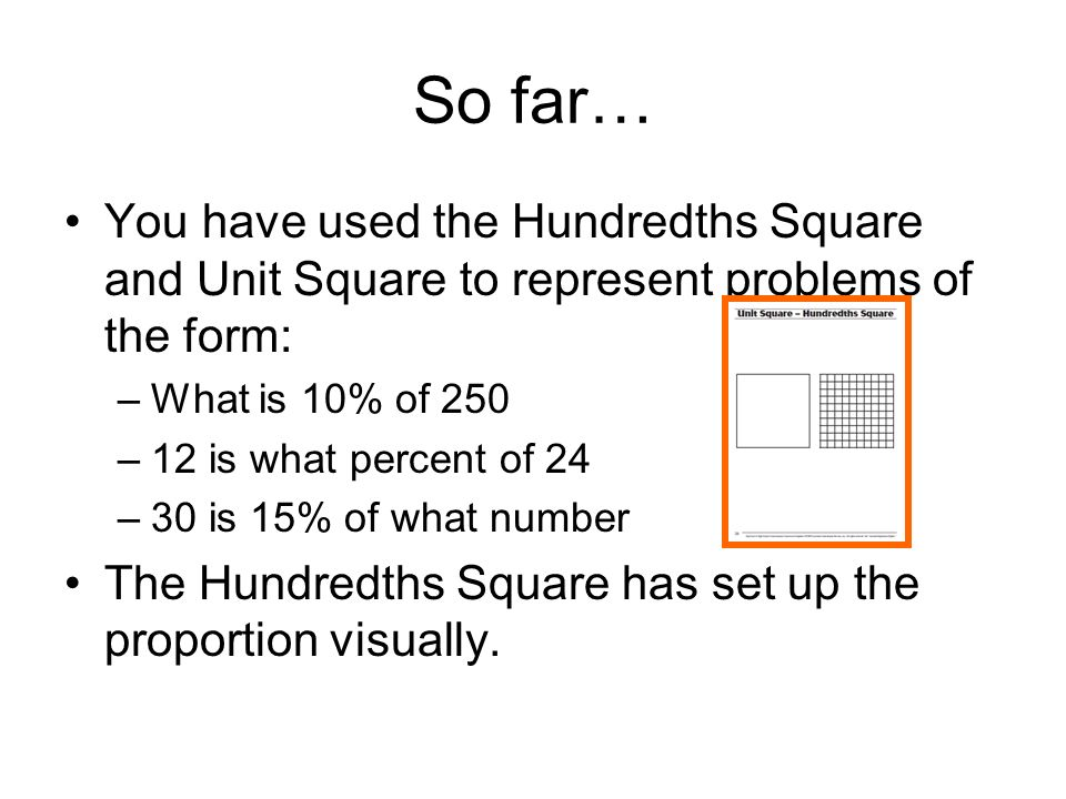 So far… You have used the Hundredths Square and Unit Square to represent problems of the form: What is 10% of 250.