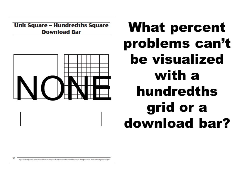 What percent problems can't be visualized with a hundredths grid or a download bar