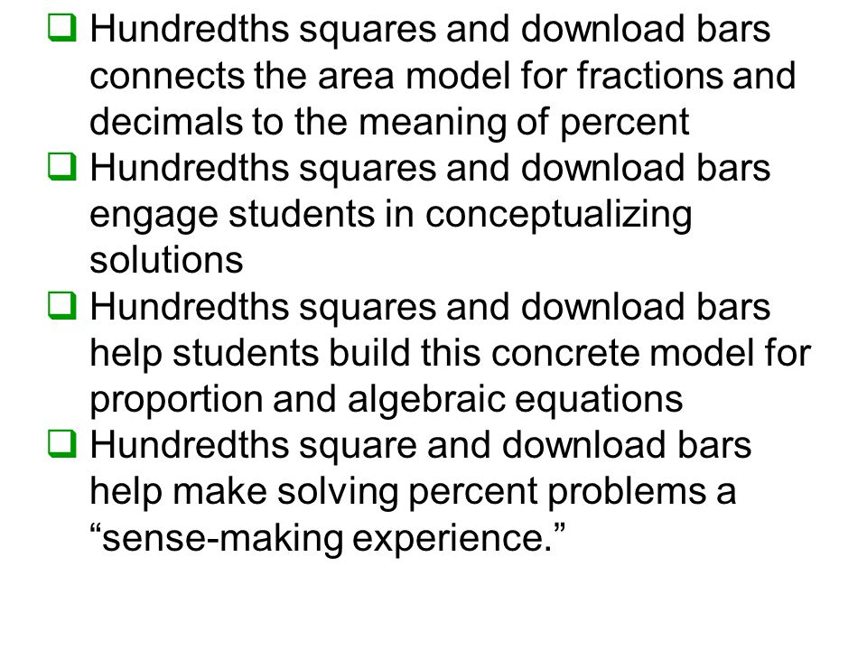 Hundredths squares and download bars connects the area model for fractions and decimals to the meaning of percent