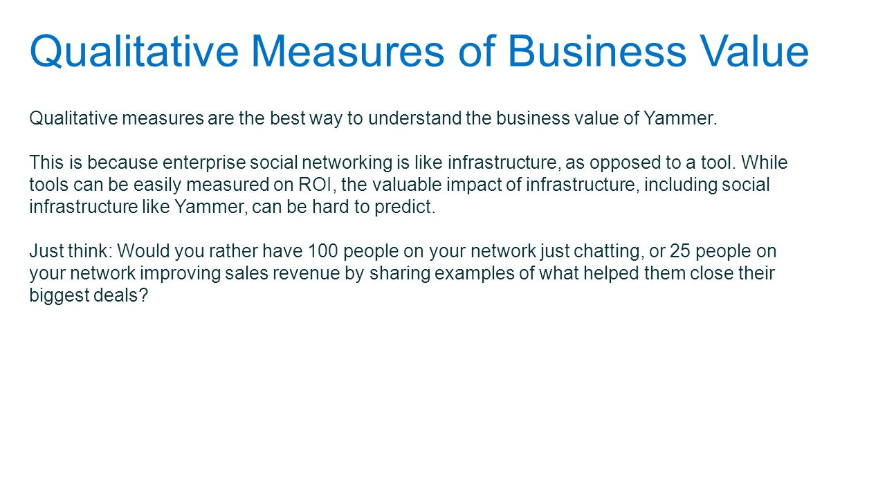 Qualitative Measures of Business Value