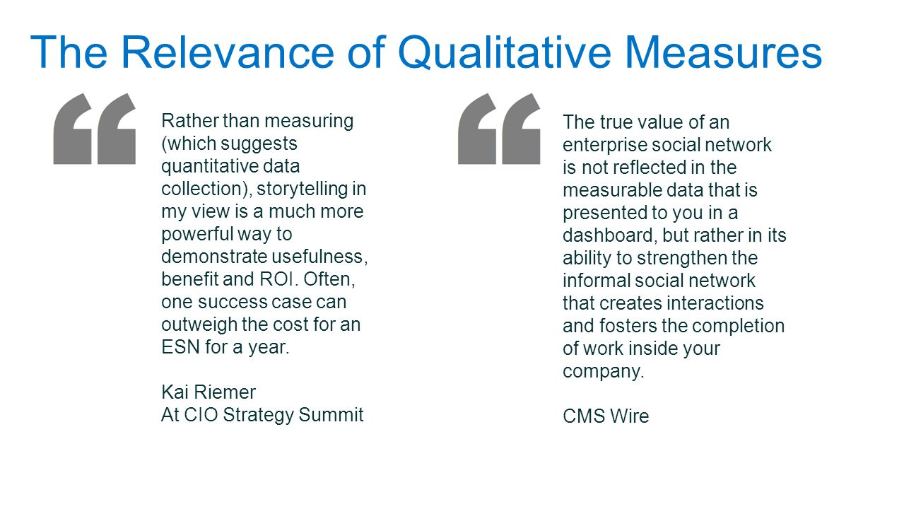 The Relevance of Qualitative Measures
