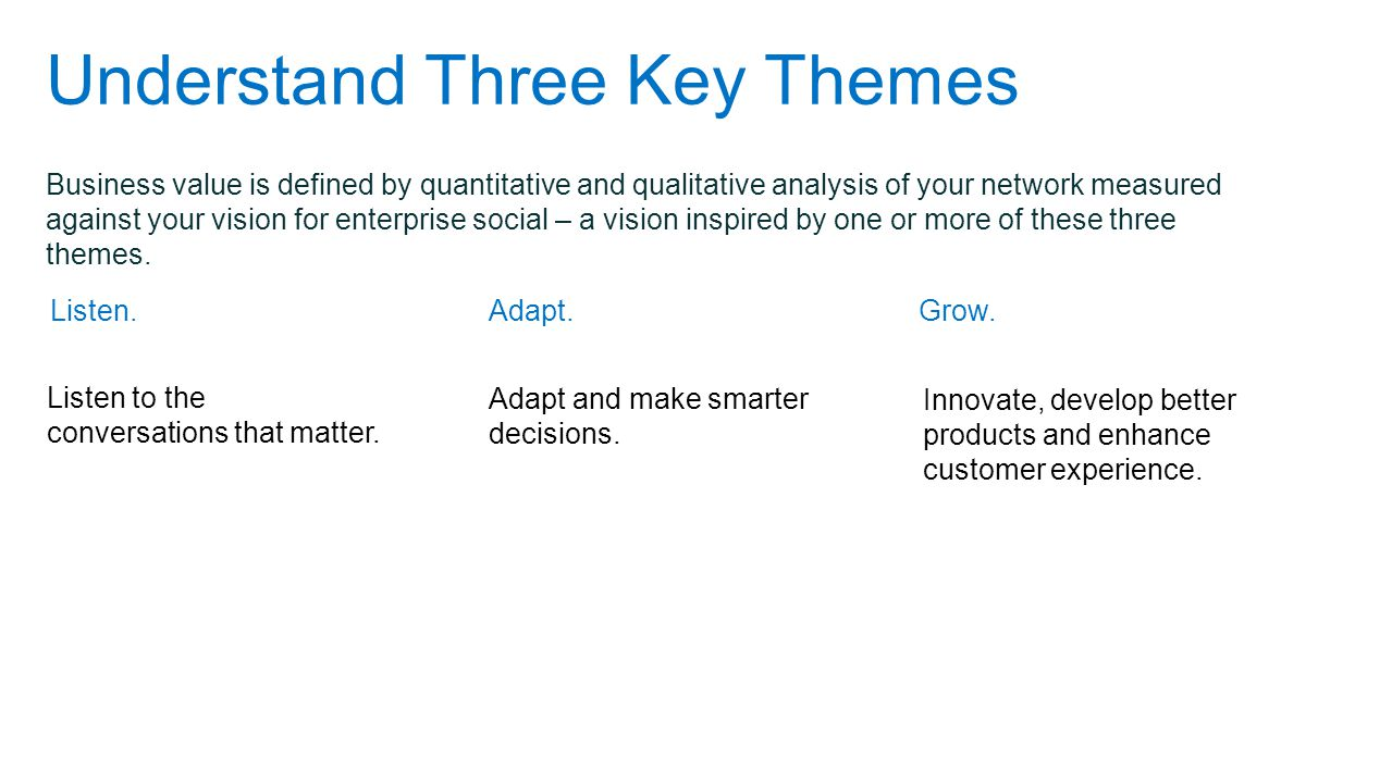 Understand Three Key Themes