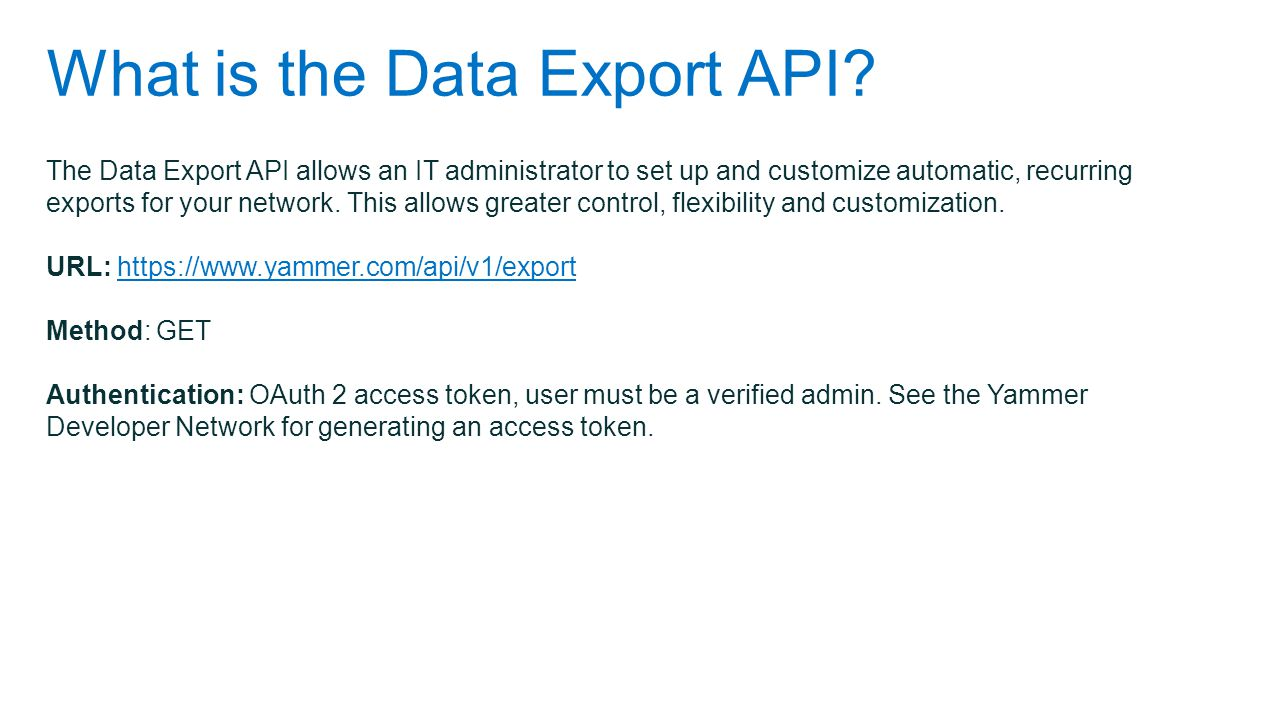 What is the Data Export API