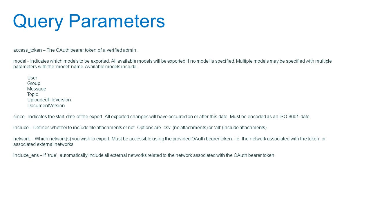 Query Parameters access_token – The OAuth bearer token of a verified admin.