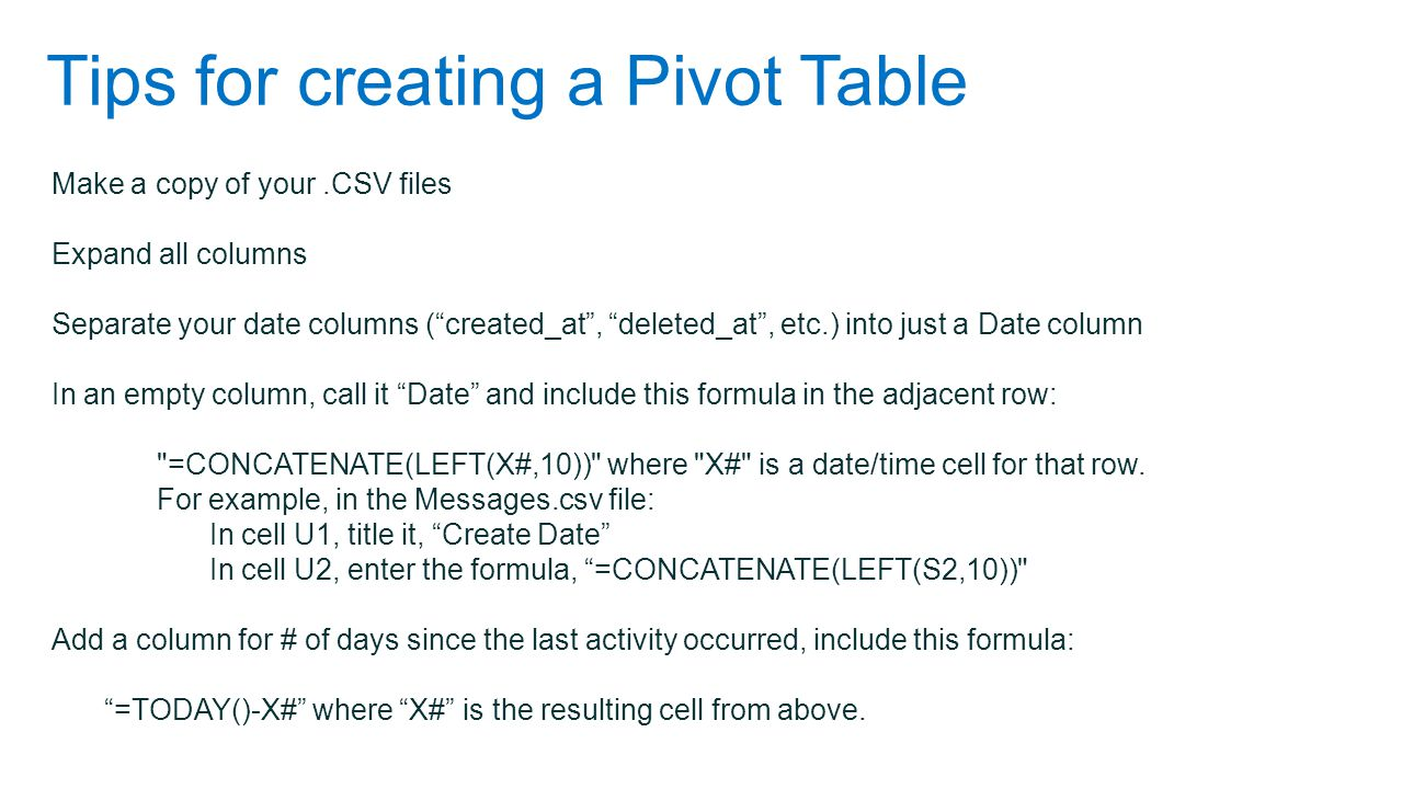 Tips for creating a Pivot Table