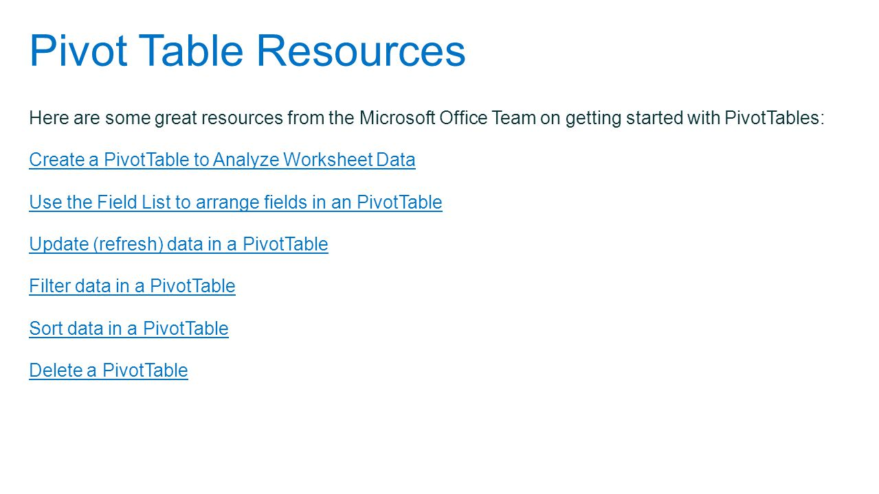 Pivot Table Resources