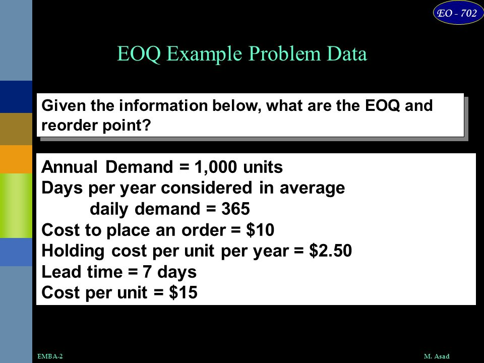 EOQ Example Problem Data