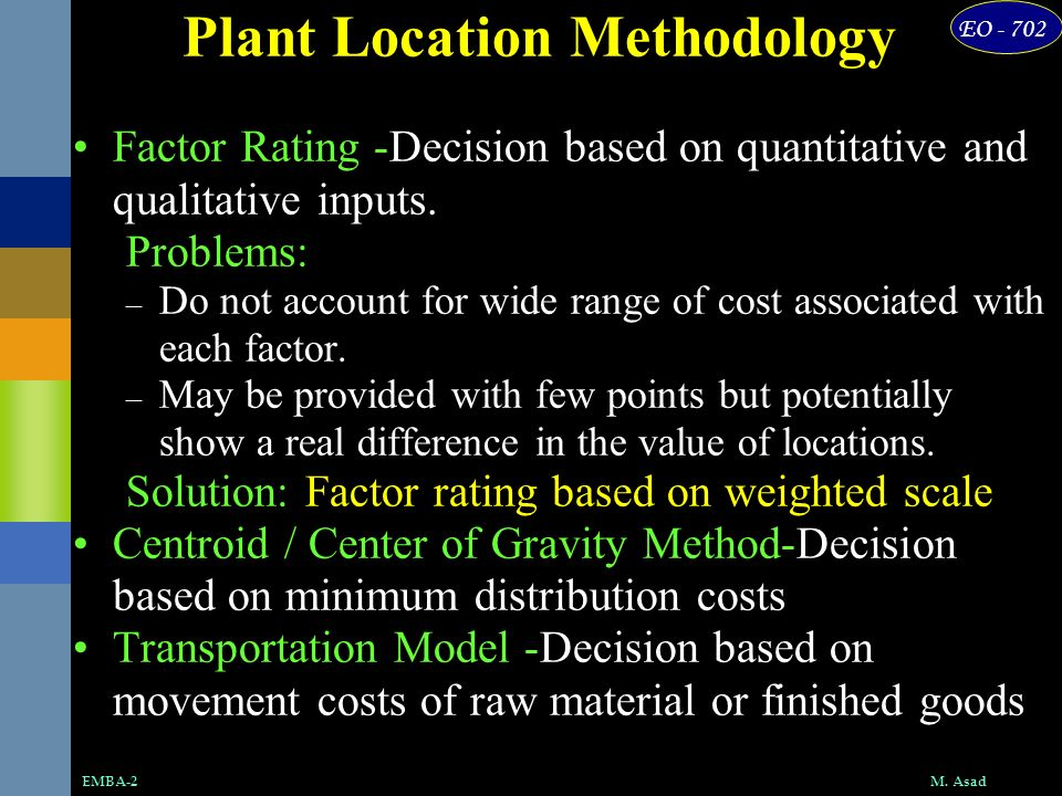 Plant Location Methodology