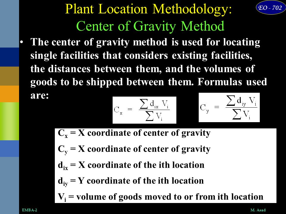 Plant Location Methodology: Center of Gravity Method