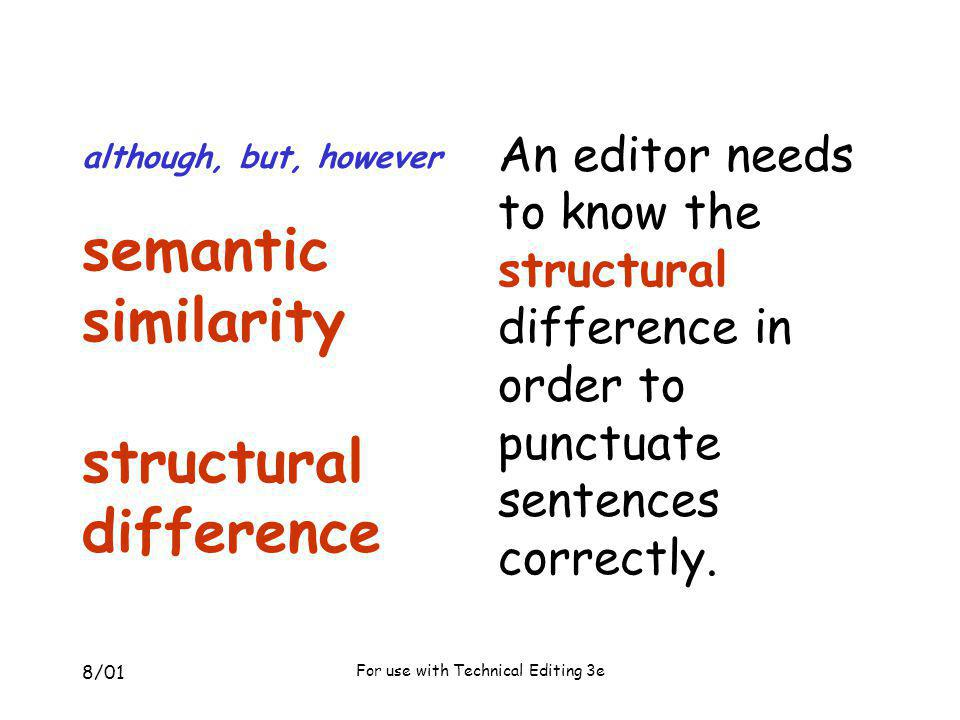 although, but, however semantic similarity structural difference