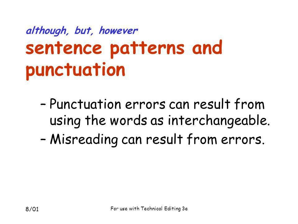 although, but, however sentence patterns and punctuation