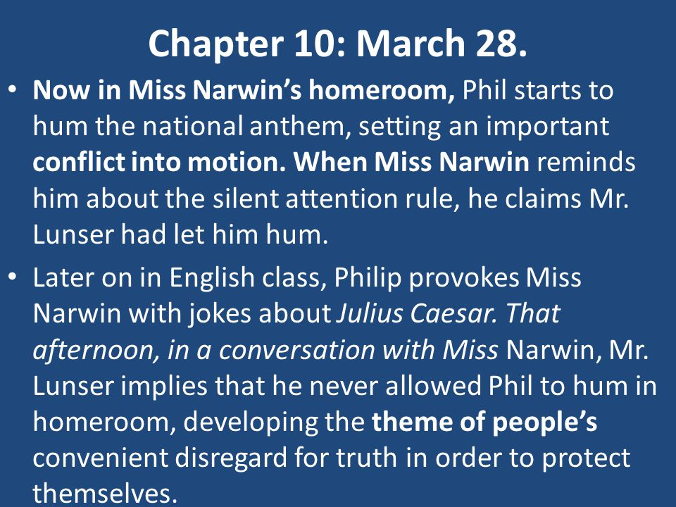 Chapter 10: March 28.