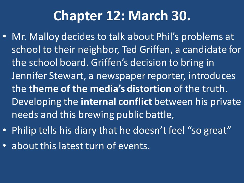 Chapter 12: March 30.